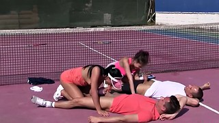 Tennis, Teen outdoor, Teen foursome, Court, Teen public