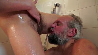 Old man, Granny orgasm, Small man, Hairy brunette, Granny blow, Hairy man