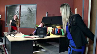 Office, Stepmom caught, Abbey brooks, Jillian janson, Stepmom blowjob, Jillian