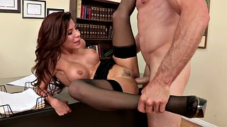 Office, Nylon, Table, Black on black, Alexa nicole, Black and latina