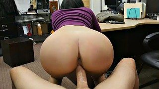 Doggy, Pawnshop, Sell, Chubby brunette, Jessi, Chubby office