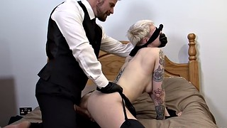 Blindfold, Piercings, Tattoos, Hard cock, Filthy, Short haired