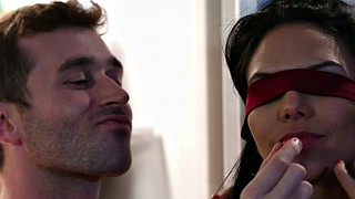 Blindfold, Blindfolded, Missy martinez, Missy, In the kitchen, Big tits kitchen