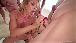 Leather, Alexis fawx, Fawx, Blonde big tits, Leather blowjob, Leather milf