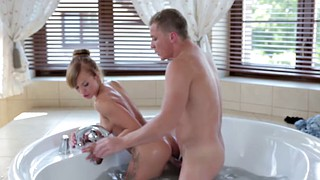 Handjob, Czech couples, Shower, Czech couple, Baby, Bathtub