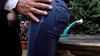 Jeans, Rip, Luscious, Fingering orgasm, Long tits, Ripping