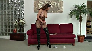 Strap, Strapping, Solo masturbation, Huge strapon, Huge toy, Solo huge tits