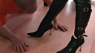 Boots, Leather, Foot slave, Cleaning, Latex femdom, Femdom slave