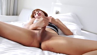 Jerk off, Asian shemale, Thai ladyboy, Jerking off, Thai big tits, Ladyboy solo