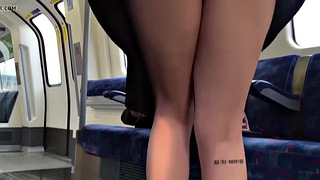 Train, Flashing, Training, London, British upskirt, Public train