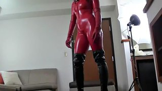 Boots, Catsuit, Sarah, Hh, Red boots, Boots fetish
