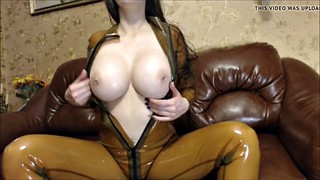 Tease, Rubber, Pierced, Piercings, Latex fuck, Big tits tease