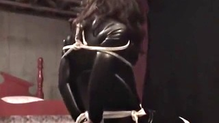 Catsuit, Tied, Gagged, Catsuit bondage, Chair, T girl