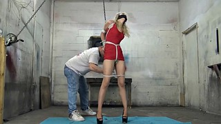 Heels, Red, Rope, Rope bondage, Red dress, Crotch rope