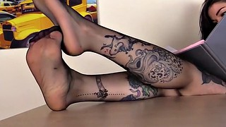 Pantyhose, Under table, Foot fetish, Table, Under the table, Footing