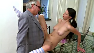 Russian, Old teacher, Lesson, Russian teacher, Granny cumshot, Granny teacher