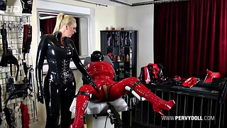 Inflation, Mistress t, Latex bondage, Body inflation, Lesbian mistress, Inflatable