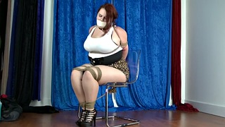 Tied, Bbw bondage, Tied tits, Chair tied, Bbw tied, Tank top