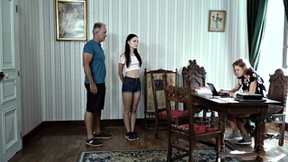 Interview, Young teen, Granny threesome, Job interview, Casting threesome, Granny casting