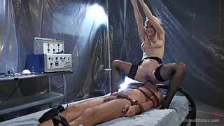 Femdom facesitting, Fishnet, Cherie, Nurse handjob, Facesiting, Orgasm face