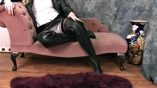 Boots, Skirt, Big bra, Leather skirt, Boot, Leather boots