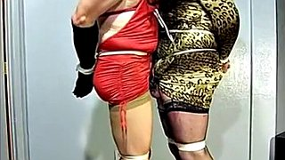 Crossdresser, Tied, Crossdress, Crossdresser bondage, Crossdress bondage, Tied together