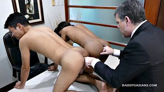 Trio, Gay dad, Asian boy, Gay interracial, Office gay, Asian office