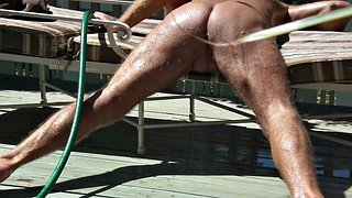 Enema, Enemas, Garden, Gardener, Gay outdoor, Hose